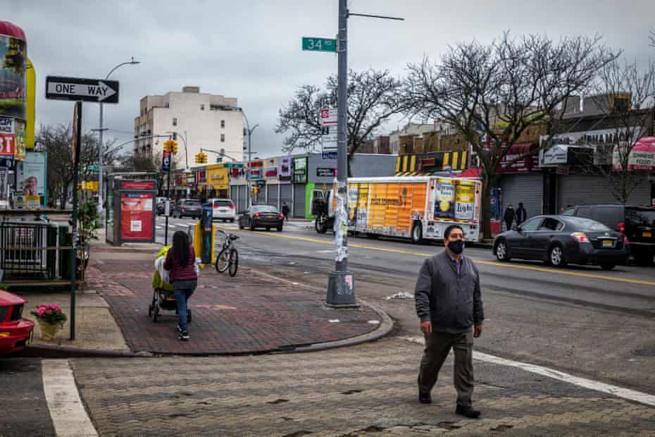 A street scene at Junction Blvd and 34th Road in Corona, Queens.