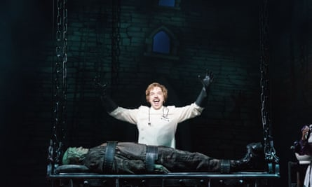 Hadley Fraser as Frankenstein and Shuler Hensley as the monster in Young Frankenstein at the Garrick theatre.