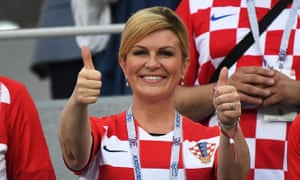 FBL-WC-2018-MATCH52-CRO-DENThe Croatian president, Kolinda Grabar-Kitarović, gives her team the thumbs-up.