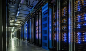 The data room at Facebook's 'Node Pole' in Luleå, which uses outside air for cooling instead of air conditioning.