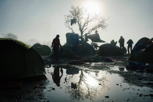 A woman at the makeshift camp near the Greek-Macedonian border