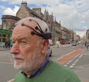 People & Skills, 1stSpiderman on George IV Bridge, by Mr Richard Coyne, University of Edinburgh Taken during a pilot study, this image shows a volunteer – nicknamed 'Spiderman' because of his headgear – wearing an EEG (Electroencephalography) headset. EEG is a way of recording brain activity, and researchers measured the neural responses of 95 people aged over 65 to different urban environments, from busy roads to a quiet park. Based on brain activity patterns, the study found older people walking between different types of urban environments show changes in their emotional response.