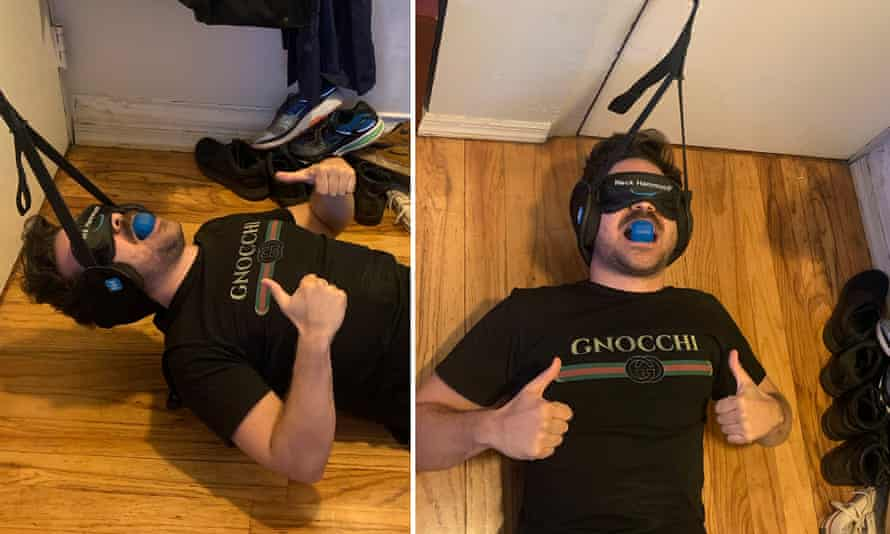 The author tries using the Neck Hammock, Back Stretcher, Jawzrsize and Upright Go 2 all at once.