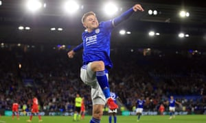 Harvey Barnes of Leicester City celebrates scoring their second goal.