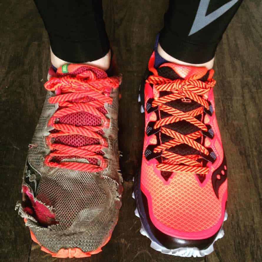 The author's trusty trail shoe - and an unused one - after months of running.