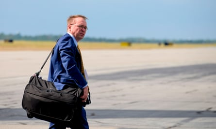 Mick Mulvaney arrives in Columbia, South Carolina, in October.