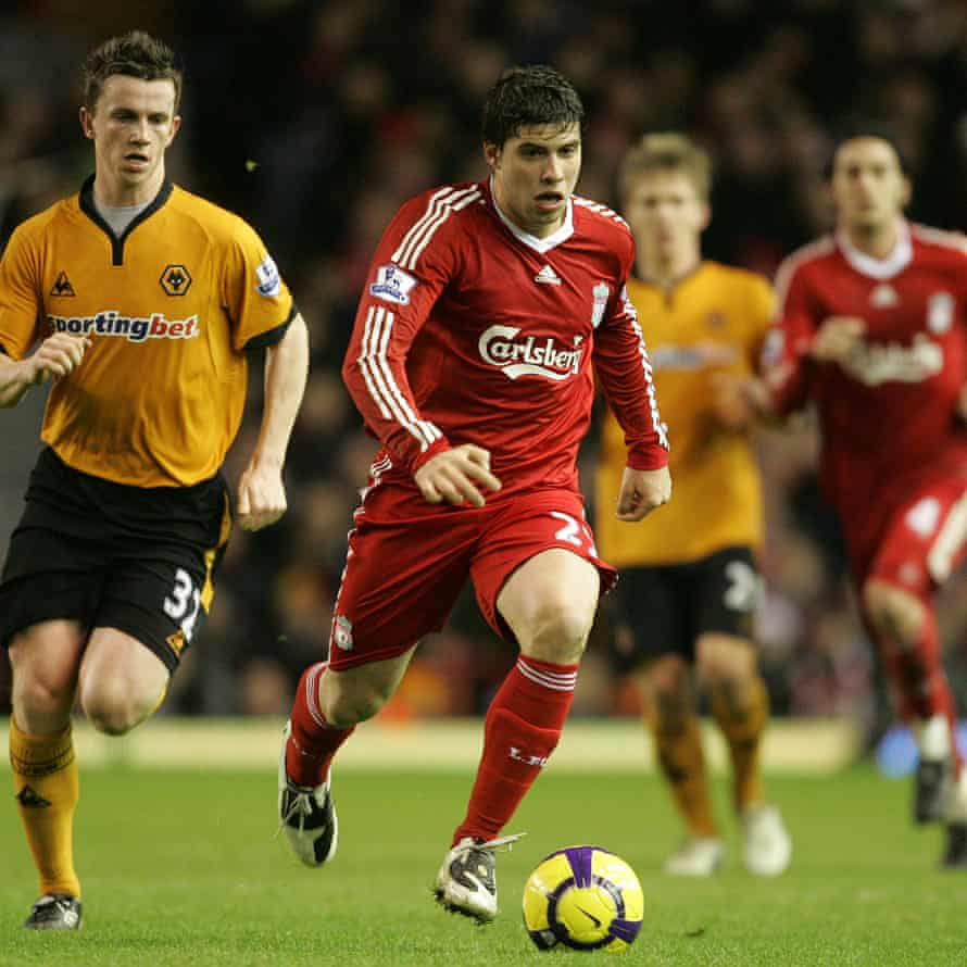 Insúa in action for Liverpool during a 2-0 victory over Wolves at Anfield on Boxing Day 2009.
