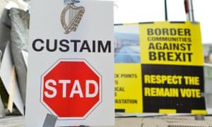 Protest signs at Irish border