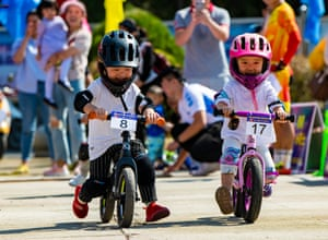 Jiangxi, ChinaChildren compete during a push bike contest in Ouli Town of Xinyu, east China's Jiangxi Province, Oct. 5, 2018.