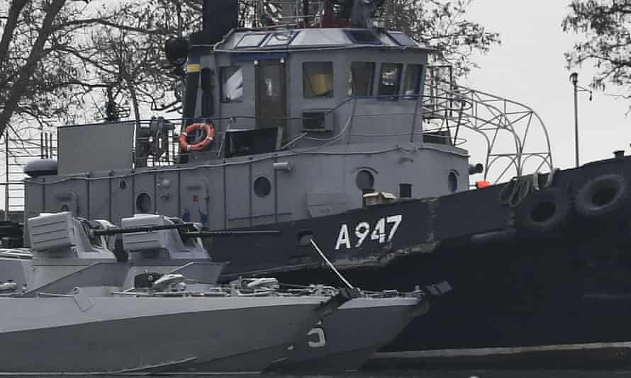 The damage on one of three Ukrainian ships seized by Russia.