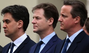 Former and departing leaders Ed Miliband, Nick Clegg and David Cameron in May 2015.