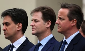 Ed Miliband, Nick Clegg and David Cameron at a VE Day service in the wake of the Tory election win
