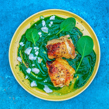 Anna Haugh's crispy chicken thighs, spinach and goat's cheese.