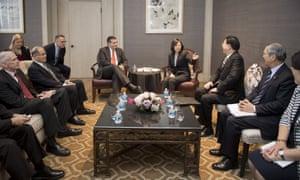 Taiwan's president, Tsai Ing-wen, meets Ted Cruz.