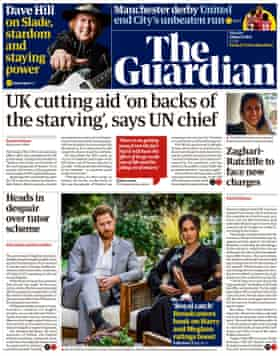 Guardian front page, Monday 8 March 2021