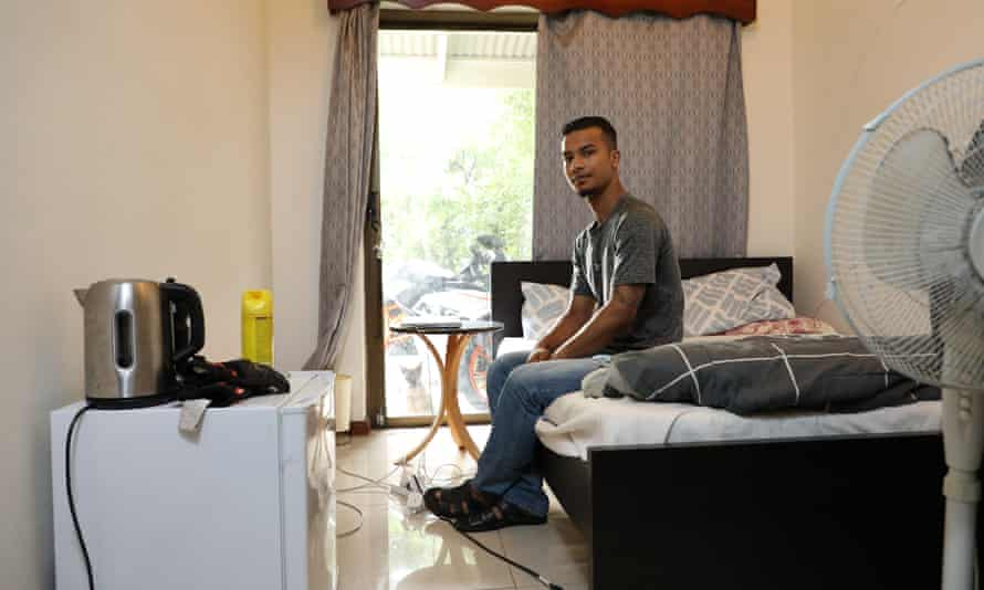 International student Brasish Suwal at his new home in Burwood, which is clean and light. At a previous share house, he did not eat in the kitchen because it was so filthy.