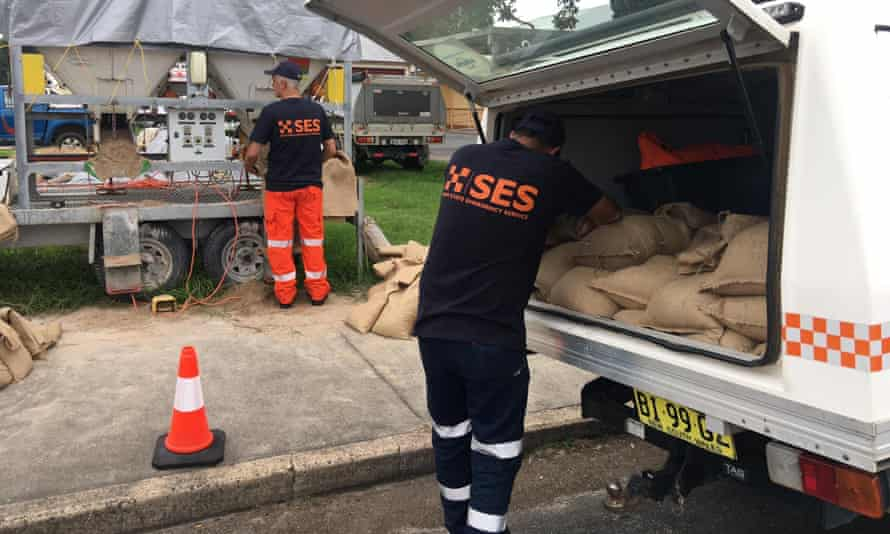 The NSW State Emergency Service prepare for severe weather in Ulmarra, in the state's mid-north coast, on Thrusday.