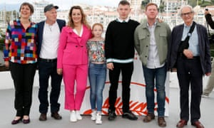 Rebecca O'Brien (left) at the Cannes photocall for Sorry We Missed You, May 2019.