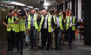Mike Ashley leads a tour of Sports Direct's Shirebrook facility