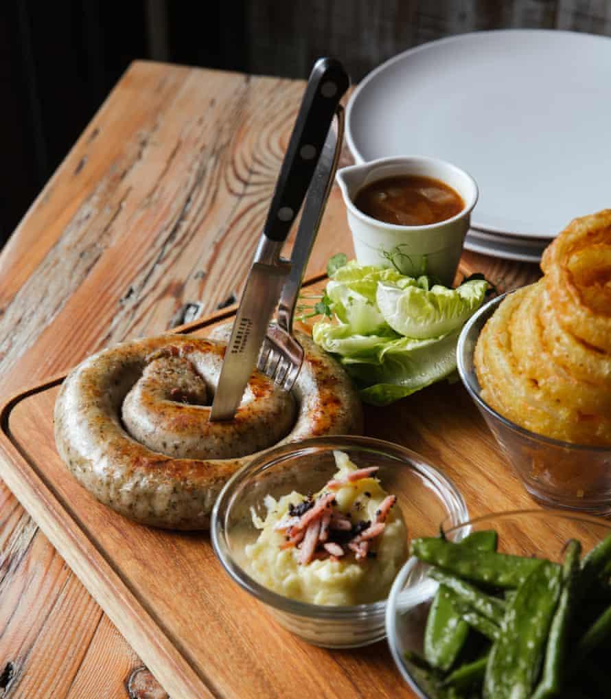 The Cumberland sausage sharing platter at The Yan at Broadrayne, near Grasmere.