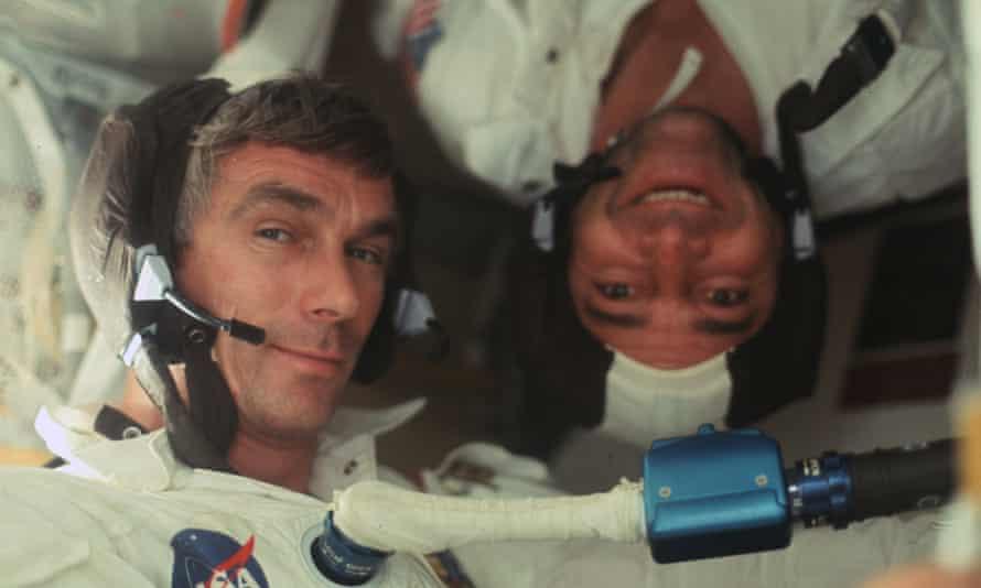 NASA Apollo 17 Commander Ronald Evans with Gene Cernan as they head to the moon