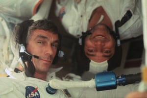 Apollo 17 astronauts Ronald Evans (upside down) and Gene Cernan on the way to the moon in the final mission in the programme