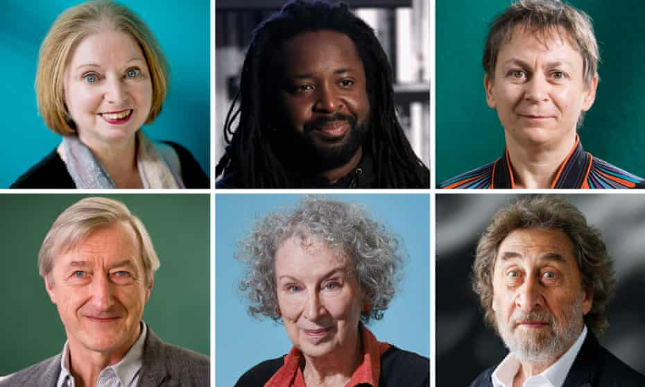 Clockwise from top left: Hilary Mantel, Marlon James, Anne Enright, Howard Jacobson, Margaret Atwood and Julian Barnes.