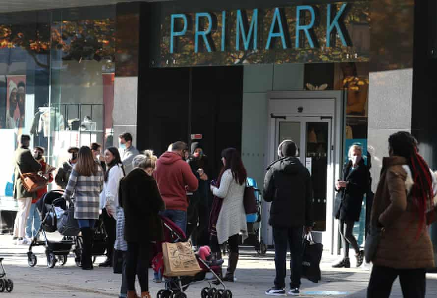 Shoppers queue outside Primark in Portsmouth after England's national lockdown was lifted last week.