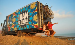 The Ivan family with their Iran is Great van in Qeshm Island, southern Iran.