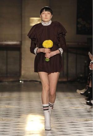 Lotta Volkova on the catwalk in a Vetements autumn/winter 2016 show at Paris Fashion Week.