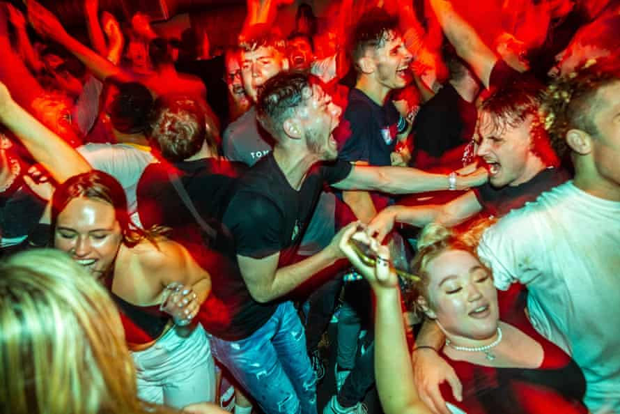 Clubbers inside Fac 51 nightclub in Manchester after midnight.