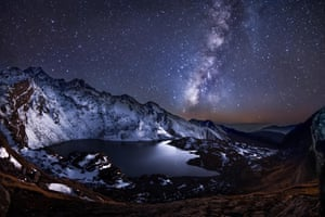 view of the Milky Way from a Himalayan lake