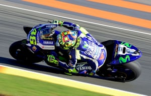 Valentino Rossi takes the racing line on his YZR-M1 during the first practice session ahead of the Valencia Moto GP at the Ricardo Tormo racetrack in Cheste, Spain.