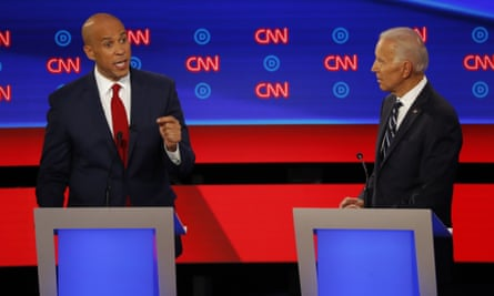 Cory Booker and Joe Biden listens during a Democratic debate in Detroit, Michigan, on 31 July 2019. Sen. Cory Booker, D-N.J., speaks as former Vice President Joe Biden listens during the second of two Democratic presidential primary debates hosted by CNN Wednesday, July 31, 2019, in the Fox Theatre in Detroit. (AP Photo/Paul Sancya)