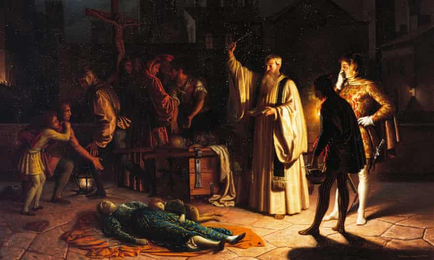 A scene of the plague in Florence in 1348 described by Boccaccio, by Baldassarre Calamai (1787-1851).