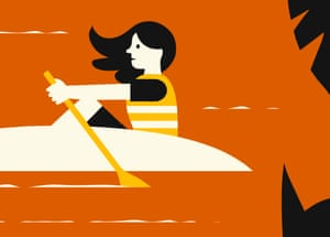 Illustration of girl rowing on a knife