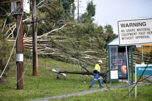 Downed powerlines are seen in Lilydale, Melbourne, Thursday, June 10, 2021.
