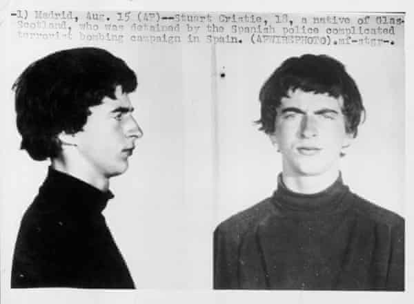 Press handout photo of Stuart Christie, aged 18, in 1964, after he had been detained by the Spanish police for carrying explosives