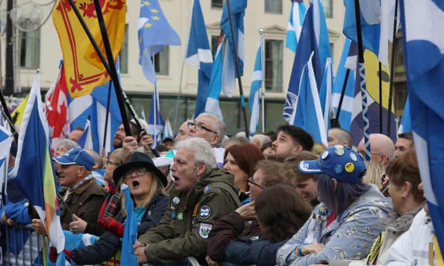 Participants at an Indyref 2020 rally in Glasgow in 2019.