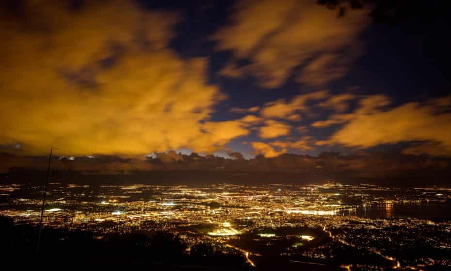 Public lighting around the city of Geneva