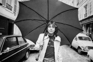 David Cassidy walking down a road in Paris in 1974 at the height of his Partridge Family fame