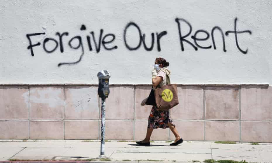 Graffiti supporting a rent strike is seen on La Brea Ave in Los Angeles, California, on 1 May.