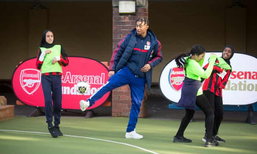 Reiss Nelson, here at an Arsenal Foundation event, thinks Mikel Arteta 'is going to make me into a top player'.