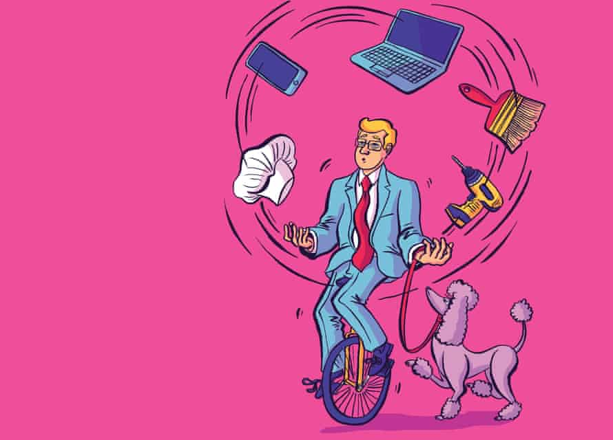 Illustration by Dom McKenzie of a man on a unicycle juggling jobs