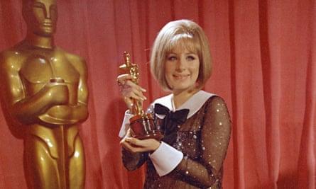 Barbra Streisand with her Academy Award for Funny Girl