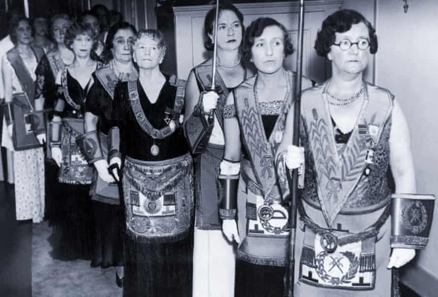 The consecration of the first women's masonic temple takes place at Westminster in September 1933. Grand master Elizabeth Bowell-Reid is fourth from right.