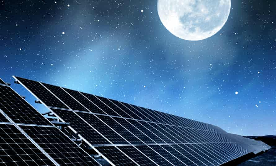 Solar energy panels in night sky.