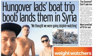 The Daily Mirror's 'Hungover lads' boat trip boob lands them in Syria' story