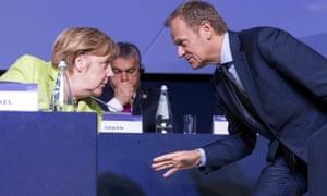 German chancellor Angela Merkel talks with President of the European Council, Donald Tusk, in St. Julian's, Malta in 2017.