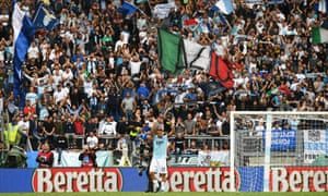 Ciro Immobile takes the acclaim from Lazio supporters after his hat-trick.